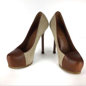 YSL Tributoo Tweed Leather Cap Toe Heels size 38